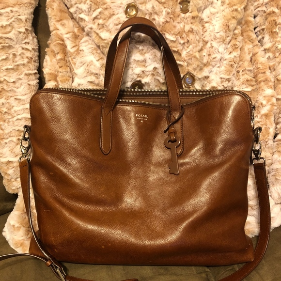 17e61331e1 Fossil Handbags - Fossil Sydney Laptop Work Bag Tote Brown